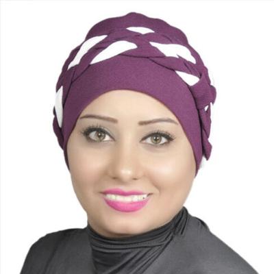 Women Turban Two-Tone Double Braid Turban Cotton Spandex Blend – Purple