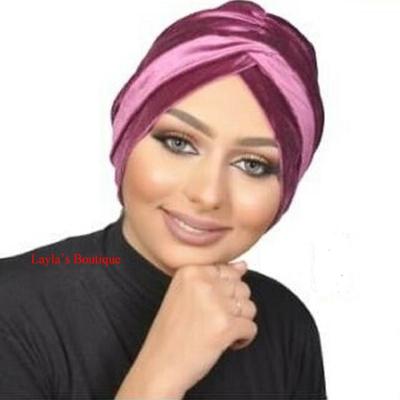 Turban, hat Head wrap, Fashion Turban Cap -Turban Headband Velvet in Rosy-mauve
