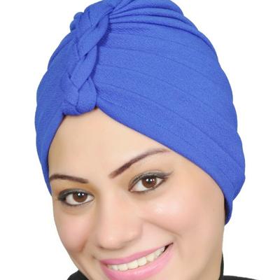 Women Turban Muslim Turban Head Hijab Turban Wrap Cover Cotton Spandex Blend – Royal-blue