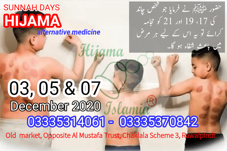 Sunnah Days for Hijama December 2020