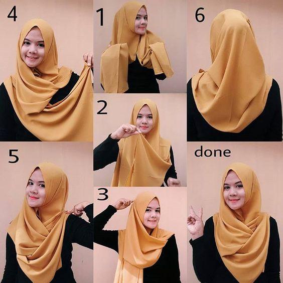 tutorial hijab untuk wajah bulat simple