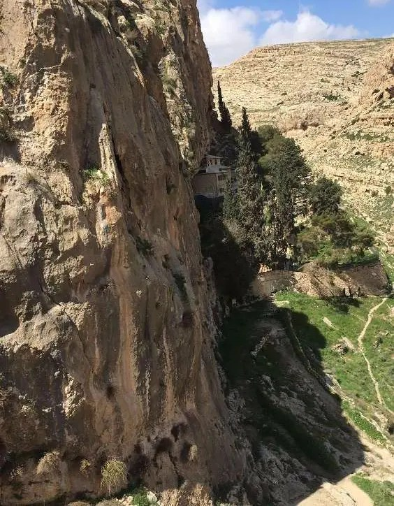 Faran monastery hangs on the clif above ein Prat