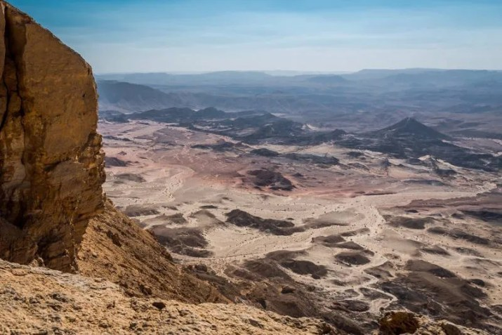 The colorful Makhtesh Ramon viewed from the summit of Mount Ardon