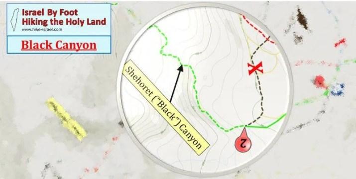 Eilat Black Canoyon hiking map