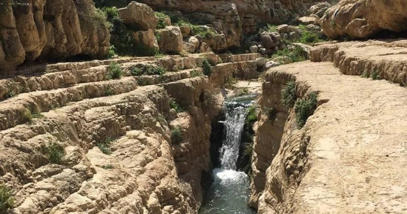 Waterfall in the Canyon of Wadi Qelt