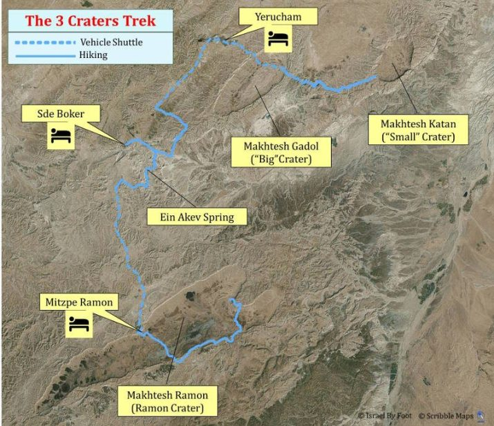 5 Days Negev inn to inn trek overview map