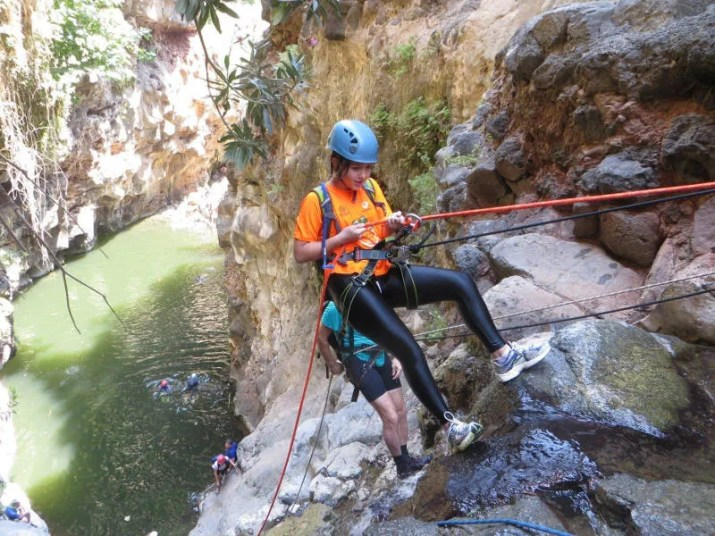 "Rappelling in the ""Nakik Hashachor"" Gorge - Golan Heights Israel"