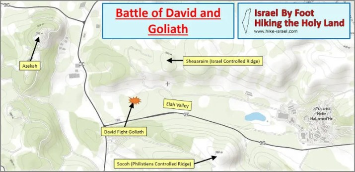 Map of the Battle David and Goliath that took place in the Elah Valley