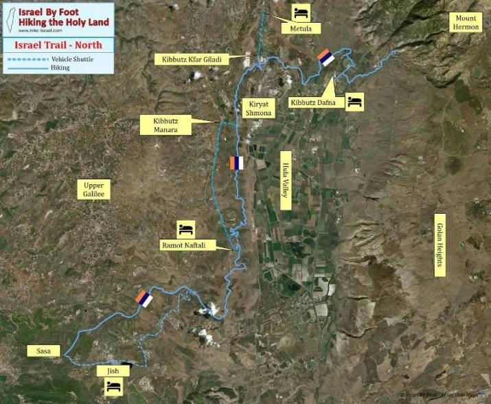 Israel National Trail - North section Inn to Inn Trek - Overview map