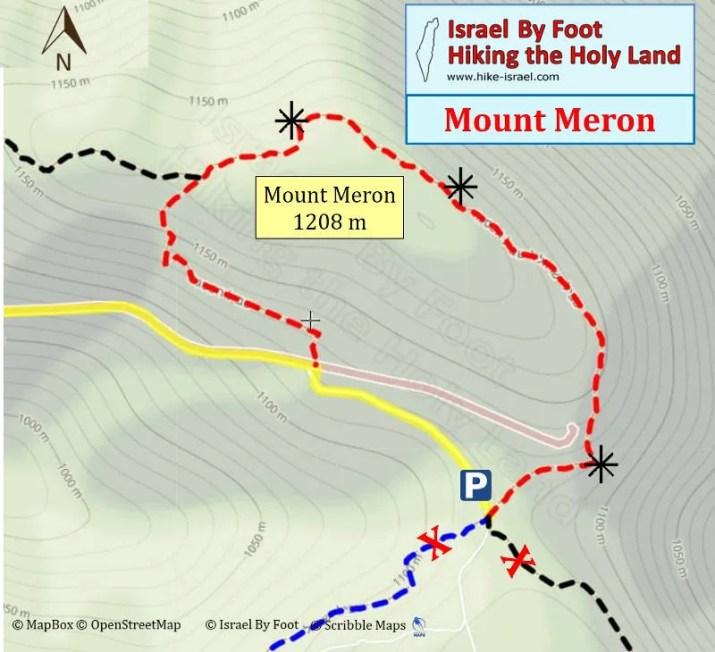 Mount Meron Hiking Map