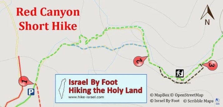 Red canyon israel hiking map