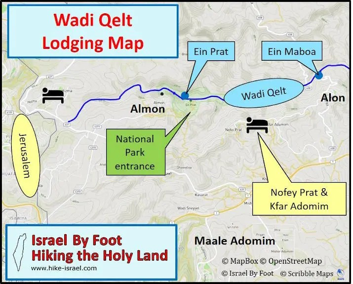 Wadi Qelt accommodations map