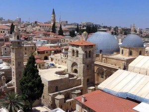 Amazing panorama from the top of the tower of the church of the redeemer in Jerusalem