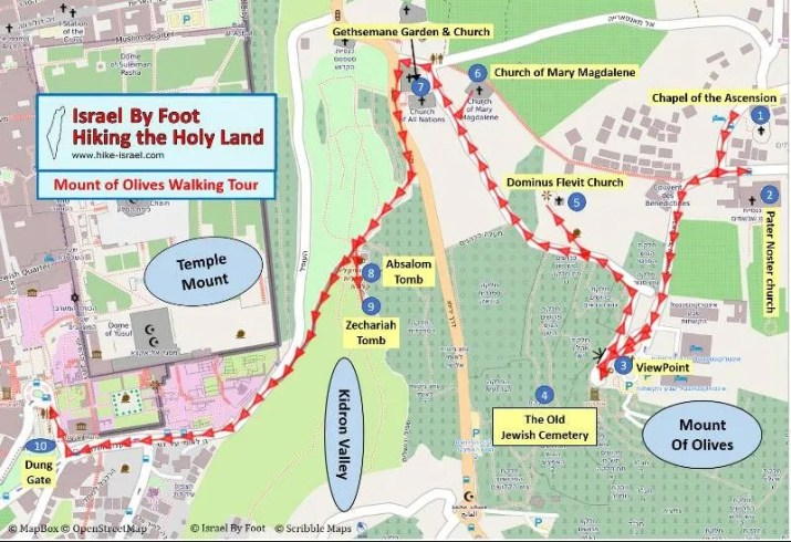 Mount of olives self guided walk map