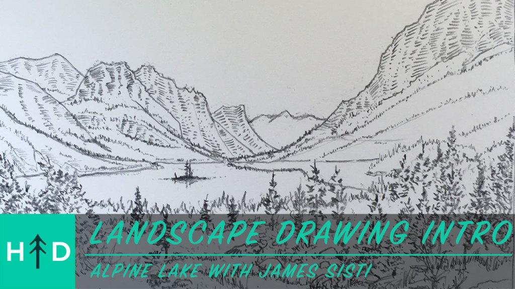 how to draw a mountain lake
