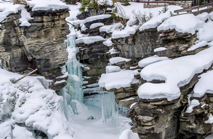 Parts of frozen Athabasca Falls in late winter