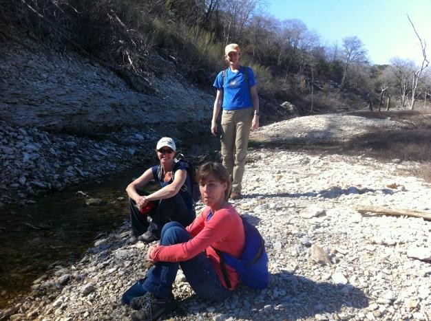 Bettina, Kelly, Maria along the trail. (JP)