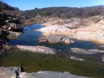 Hiking along the creek that feeds into the Devils Waterhole. (JP)