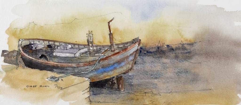 Old boat - Glebe Quay. Watercolour sketch