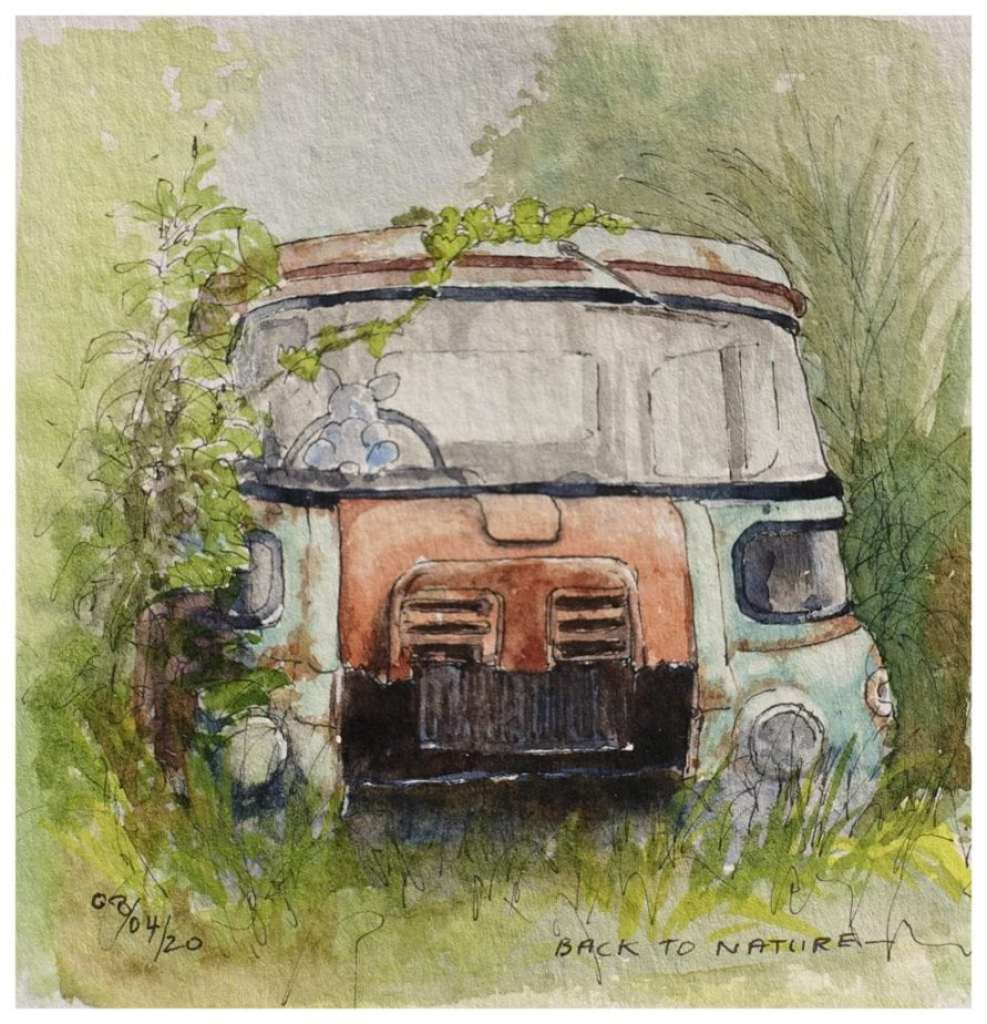 Old truck being reclaimed by nature, watercolour sketch