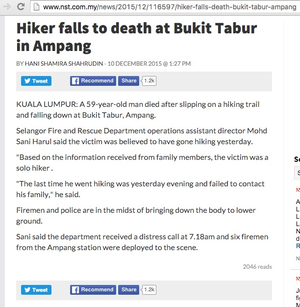 Bukit Tabur Accidents