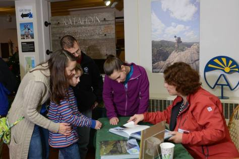 Signing books at Appalachian Trail Conservancy headquarters in Harpers Ferry, WV.