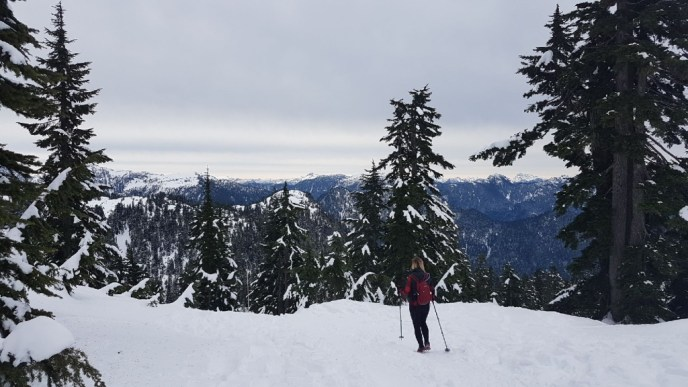 snowshoeing, hikes near vancouver, grouse mountain, dam mountain, snowshoe grind, microspikes, kahtoola, hiking poles, north shore mountains