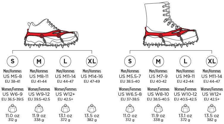 kahtoola microspike sizing chart, crampons, traction device, snowshoeing, winter hiking