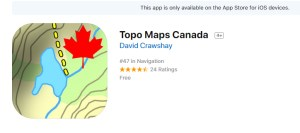 topo maps canada, hiking app