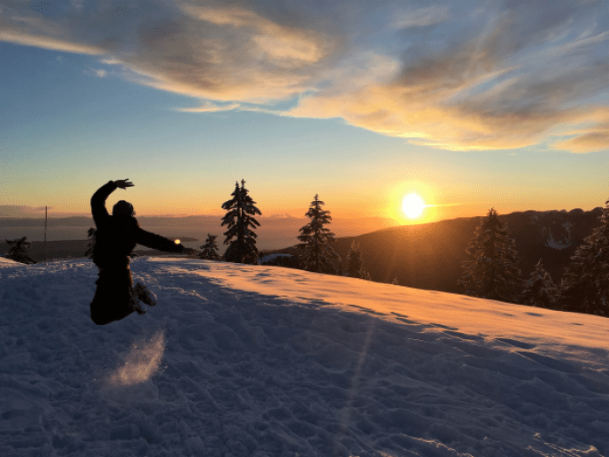 Mt Seymour to Brockton Point Snowshoe Winter Trail sunset