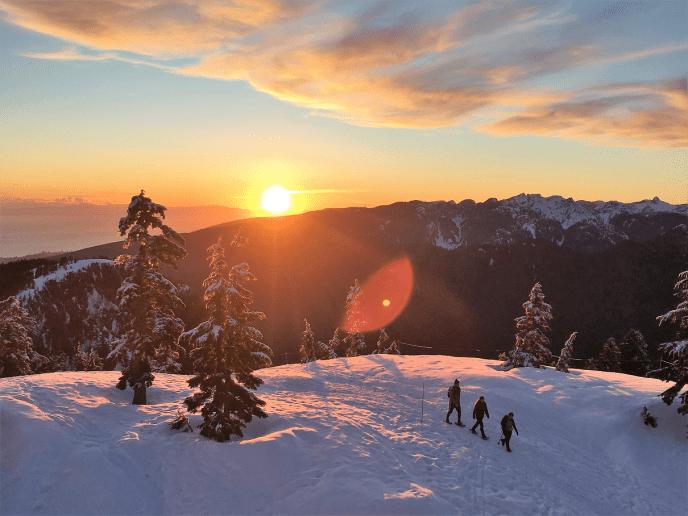 Mount Seymour to Brockton Point Winter Route sunset