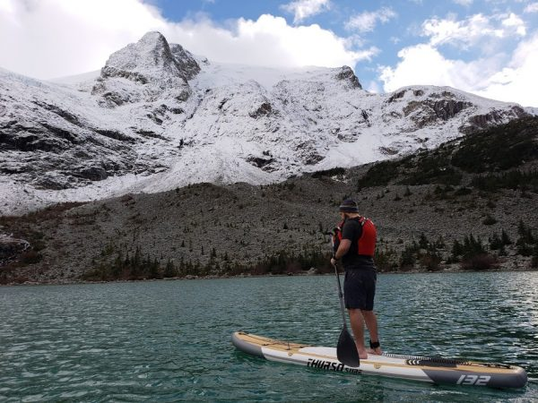 thurso surf waterwalker standup paddleboard, SUP, Joffre Lakes, glacier lake, hikes near vancouver