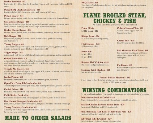 Porter's Smokehouse and Grill Menu