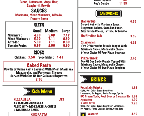 Roy's Pizza Menu