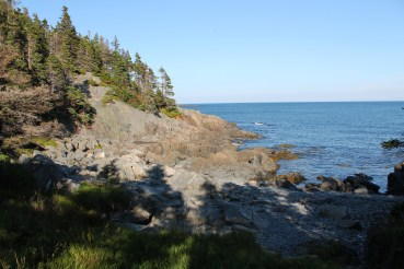 A small cobblestone beach just off the trail near Beachy Cove.