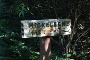"The old trailhead for ""Mickeleen's Walk."""