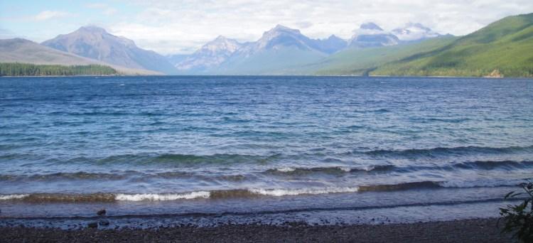 view from hotel at lake mcdonald