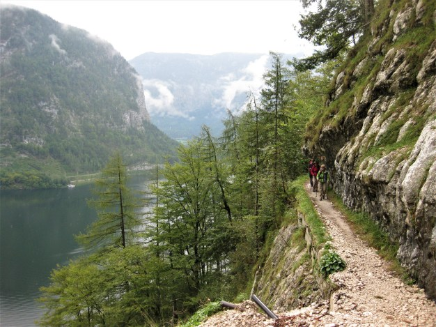 trail notched in over Hallstattersee