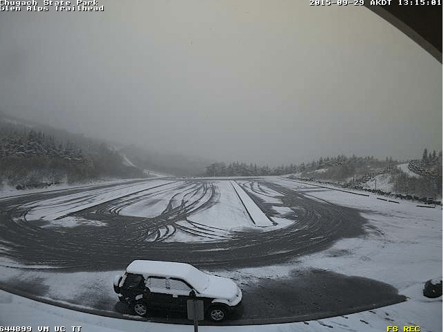 Webcam shot of Glen Alps trailhead