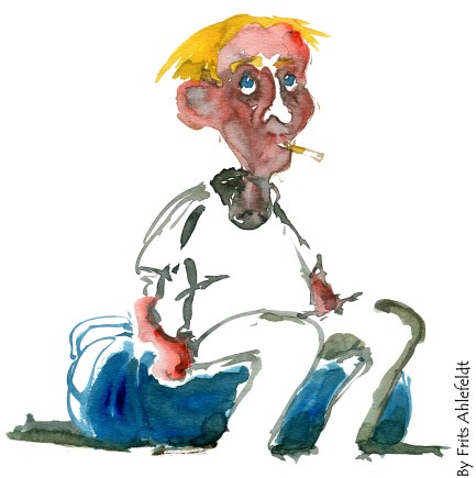 man sitting. yellow hair. Watercolor