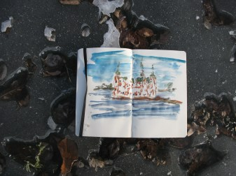 Frederiksborg Castle, on the frozen lake, fast sketch Moleskine Watercolor