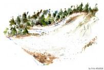 Dueodde, beach, dunes, Bornholm, Denmark. Watercolor