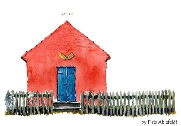 Snoegebaek, fishing village, Bornholm, Denmark. Watercolor