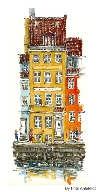 House by the water, Watercolor from Christianshavn, Copenhagen, Denmark
