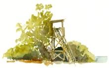 bird tower, Bornholm, Denmark. Watercolor
