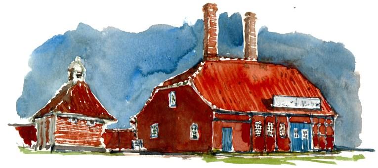Houses. Roenne, Bornholm, Denmark. Watercolor