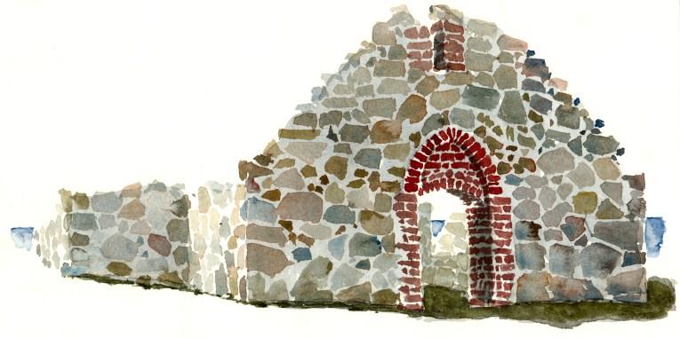 Salomon chapel. old ruins, at Hammeren nature reserve. Bornholm. Watercolor