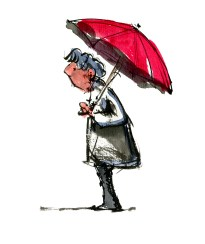 old woman with umbrella drawing