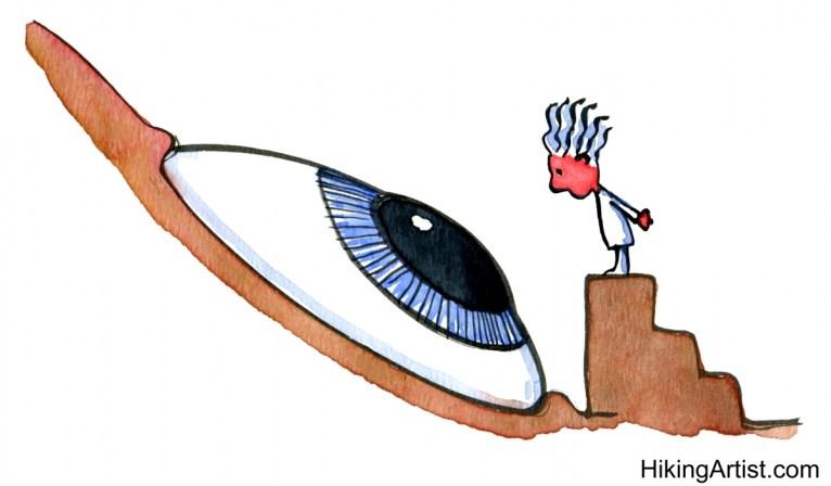 drawing of a man watching a big eye