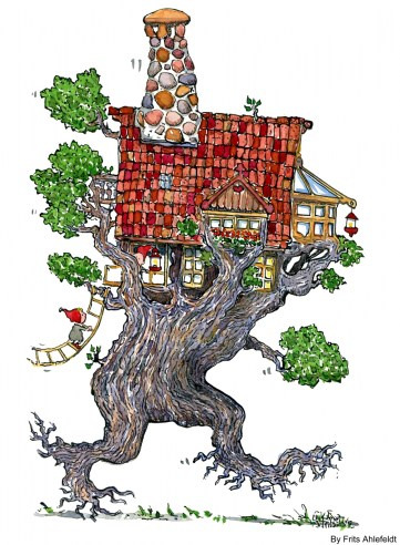 Drawing of a walking tree house